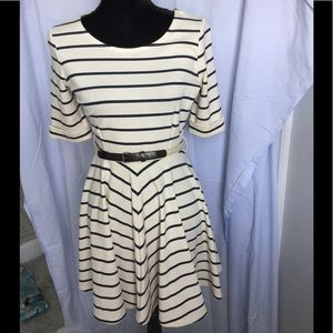 Cream and Navy Blue Striped Short Dress